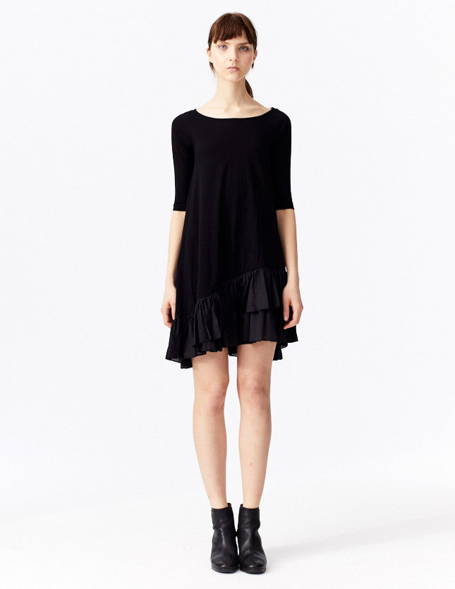 morgane le fay short cotton dress with rounded neckline and fitted, mid-length sleeves. made in new york.