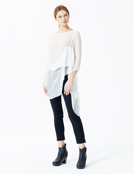 morgane le fay long sleeve chiffon top with diagonal pleated bus and bustles at front and back.