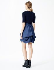 morgane le fay dress with denim bustled skirt.