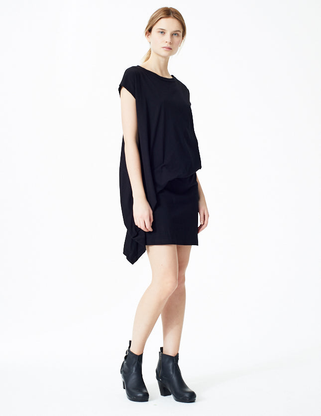 morgane le fay short sheath dress with subtle draping at the hip.
