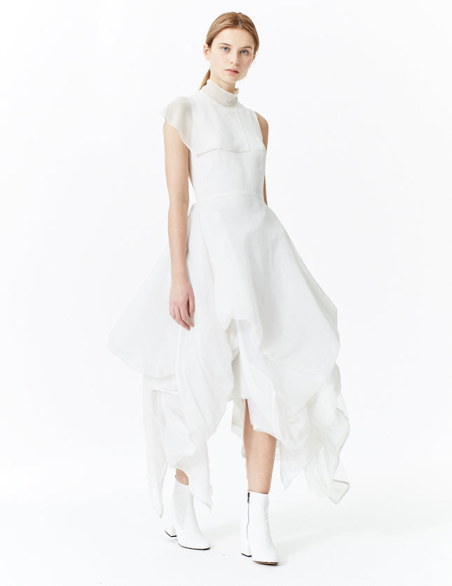 morgane le fay draped silk chiffon and tulle gown with paneled collar. made in new york.
