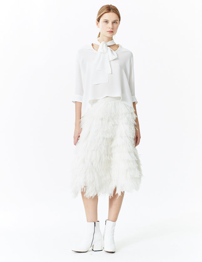 morgane le fay cruelty-free ostrich feather skirt. made in new york.