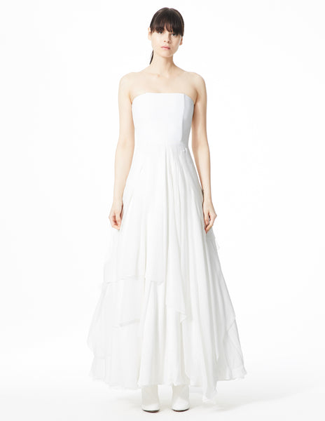 morgane le fay floor length strapless ballgown with a fitted bodice and silk chiffon layers. made in new york.