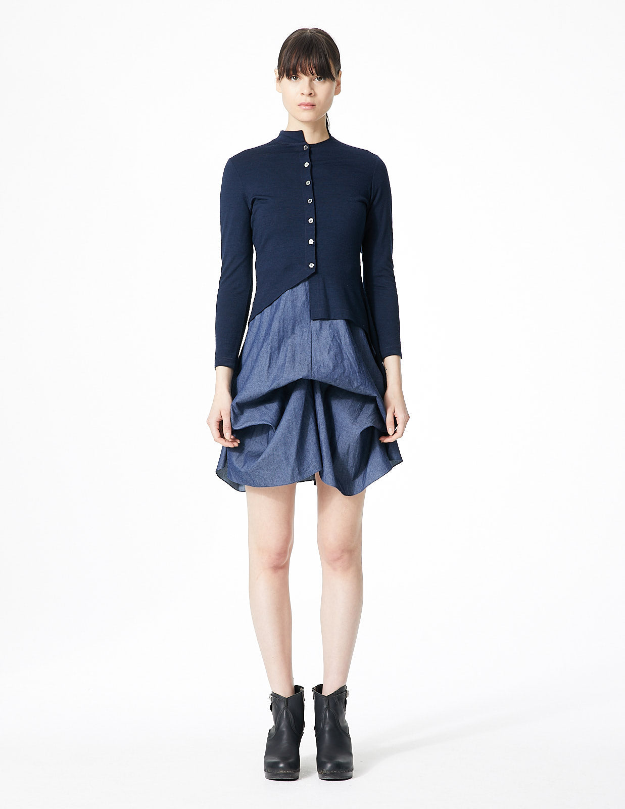 morgane le fay short a-line skirt with high waist and adjustable ties to effect drapery. hidden zip closure at back.