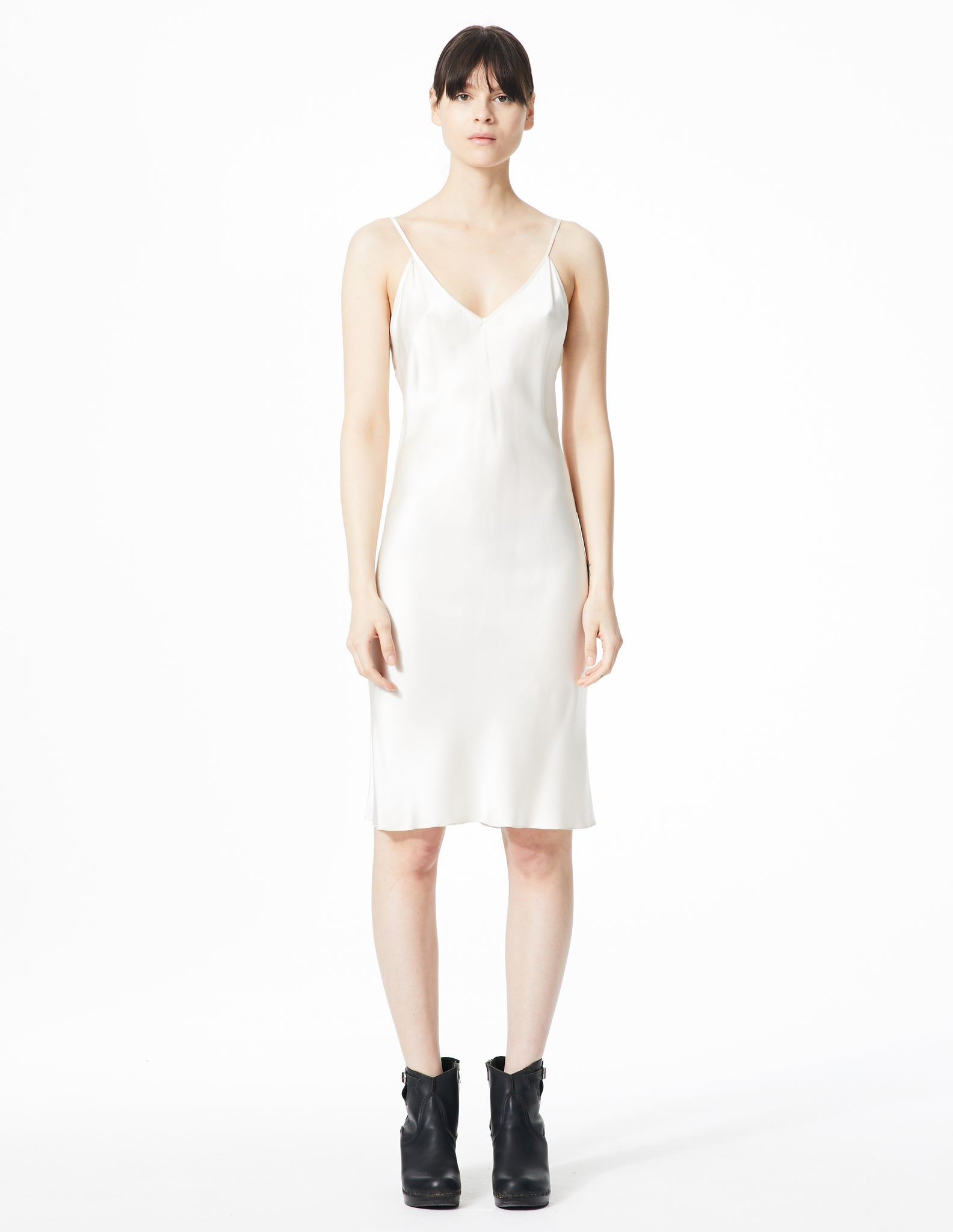 morgane le fay knee-length, v-neck dress slip with thin straps.