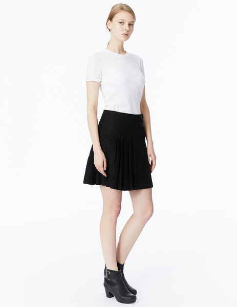 morgane le fay lace pleated wrap skirt with side buckles