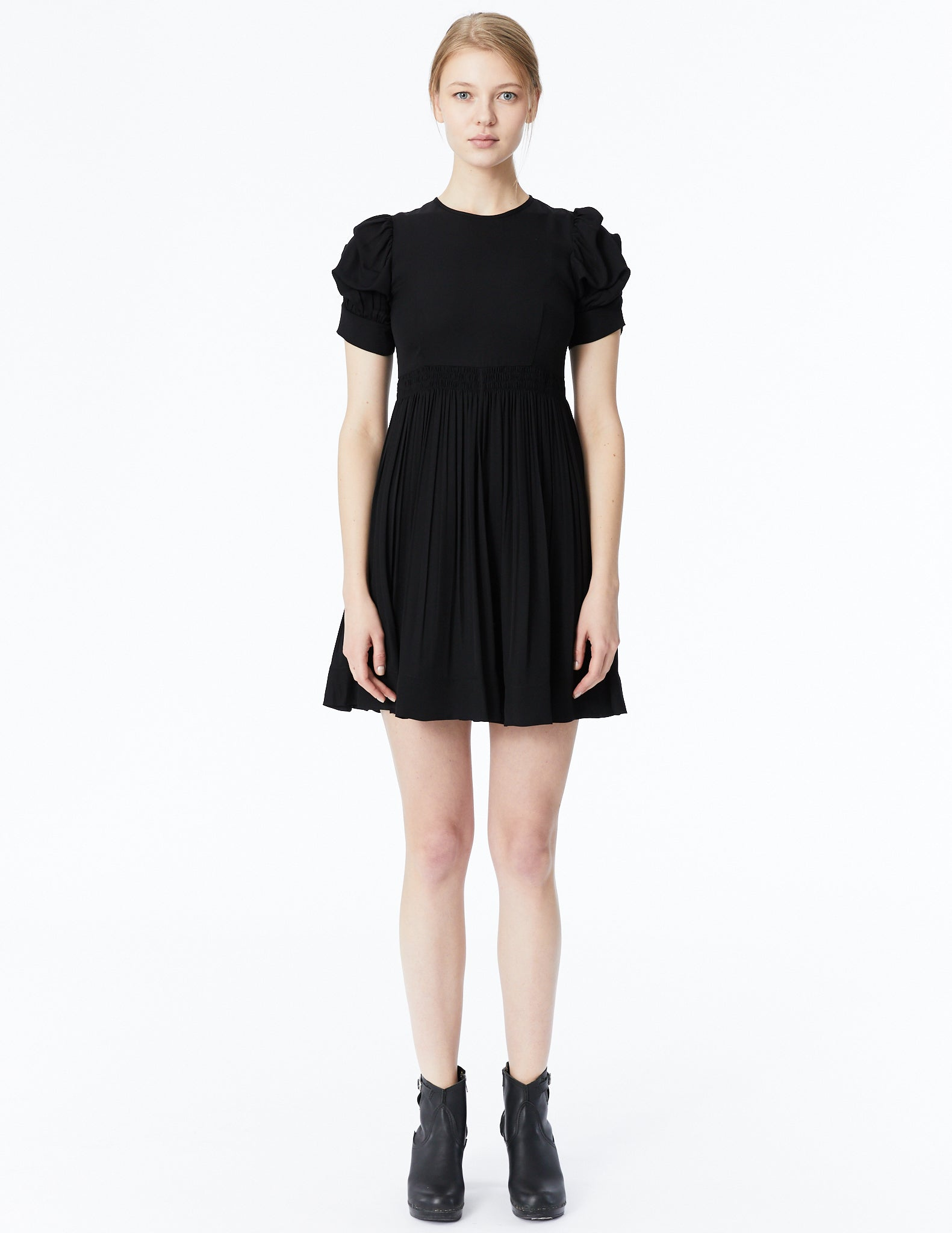 morgane le fay silk dress with pouf sleeves and gathered skirt
