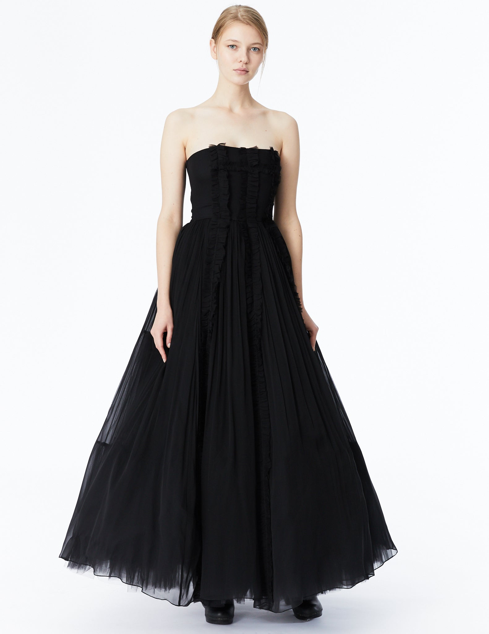 morgane le fay strapless ballgown with mini ruffle applique on bodice and full crinoline skirt.