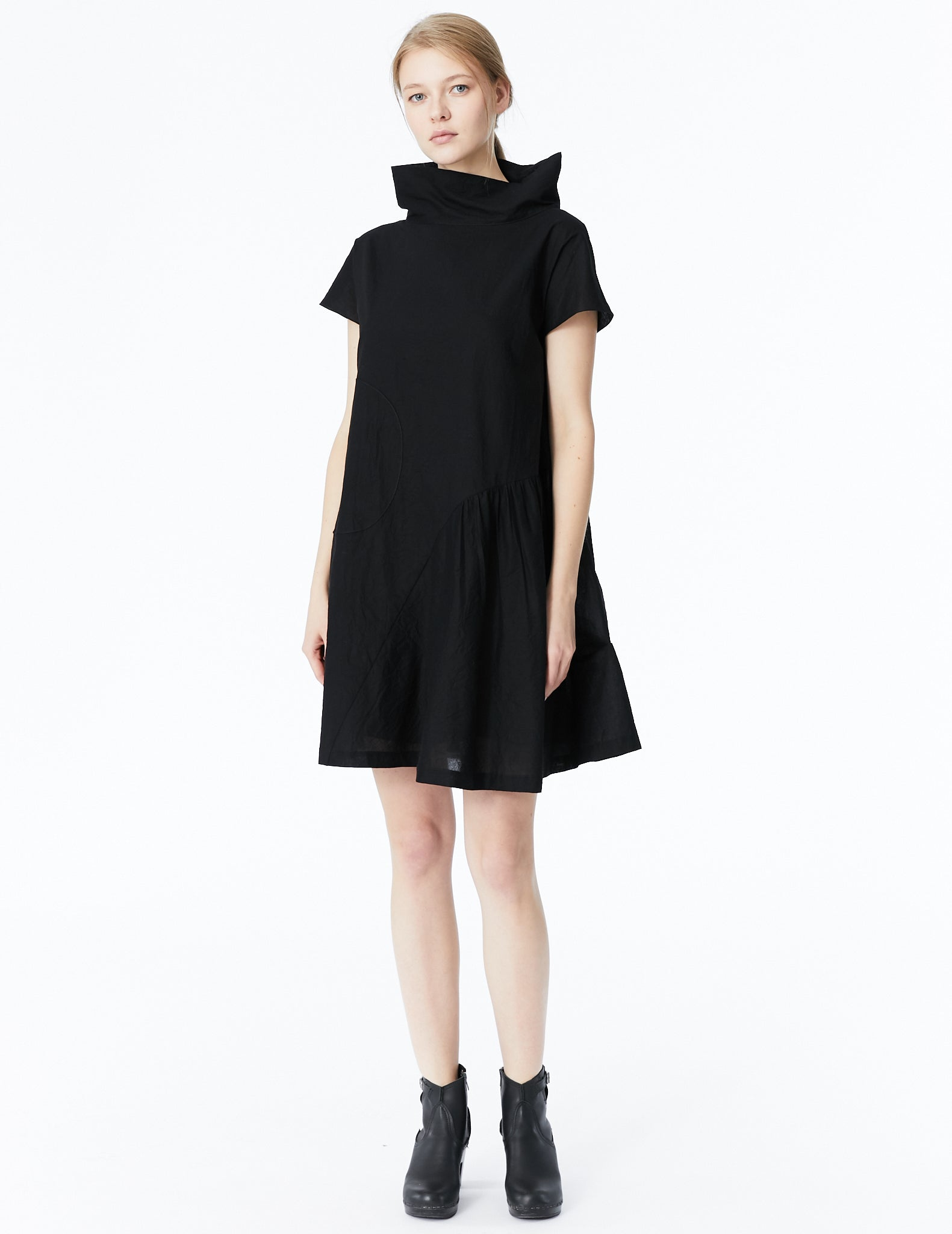 morgane le fay cotton batiste oversized dress with high collar and curved gathered panel with optional drape