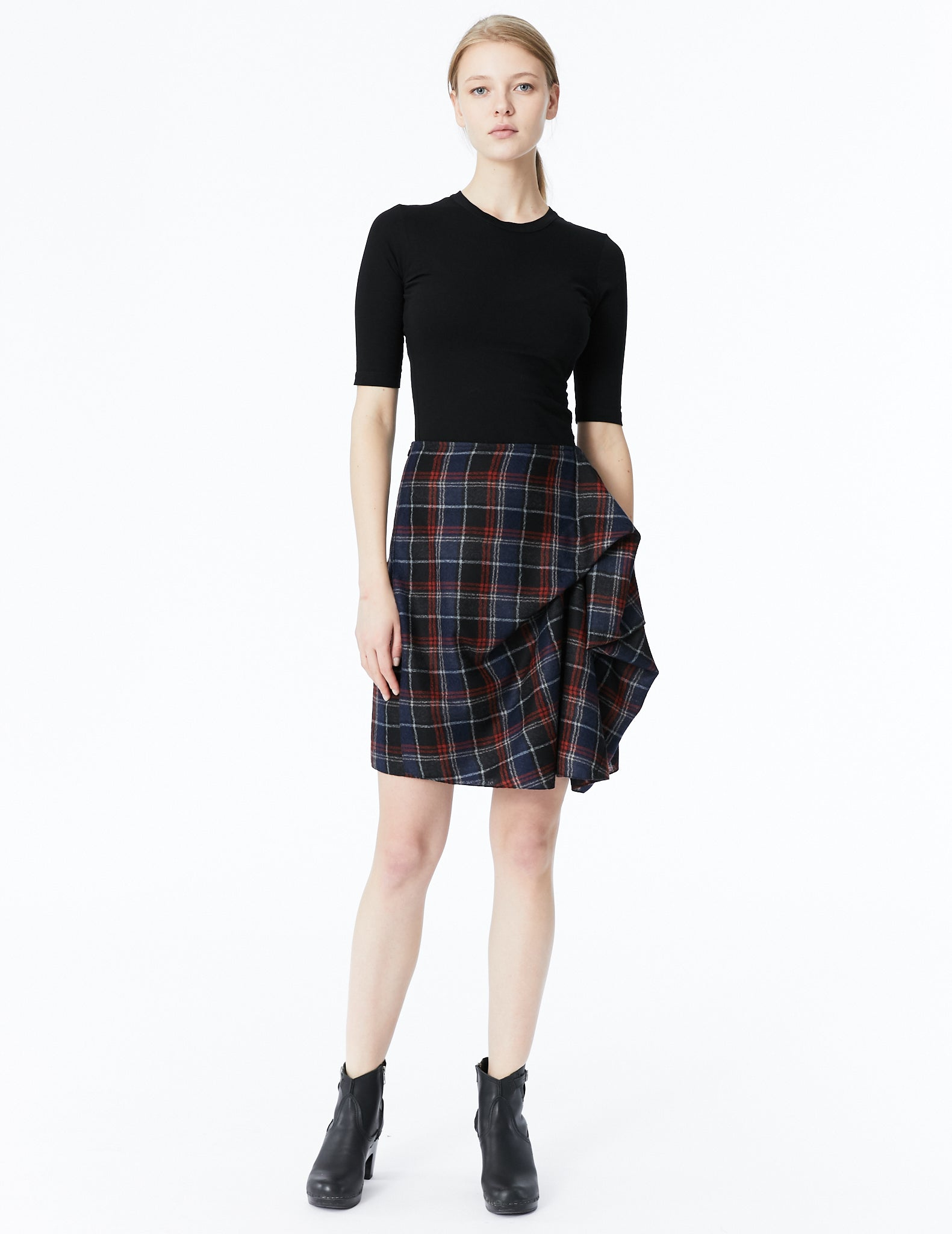morgane le fay skirt with front drape and back pleats
