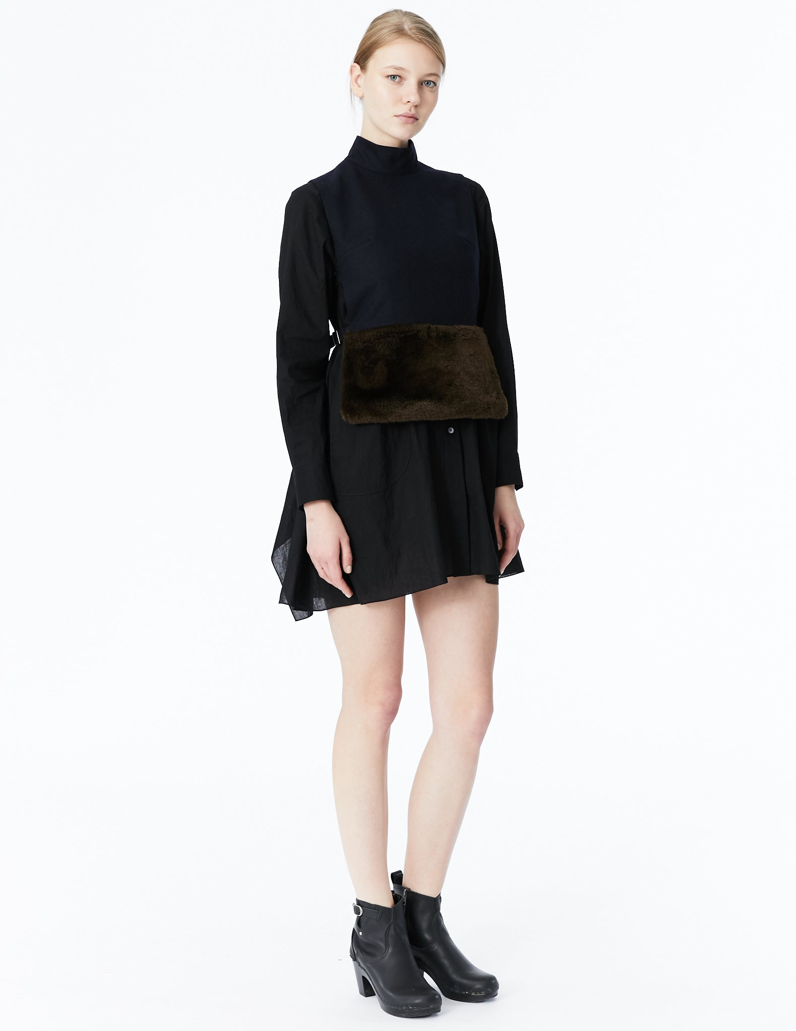 morgane le fay cropped peplum vest with adjustable ties, high collar and faux fur