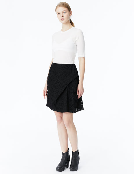 morgane le fay lace skirt with front drape and pleated back