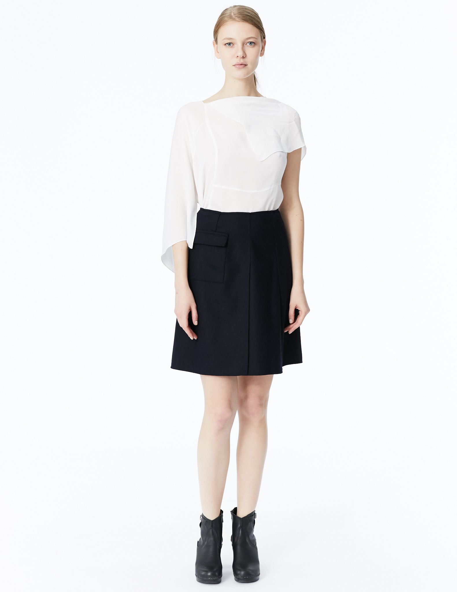 morgane le fay short skirt with crossing panels and flap pocket