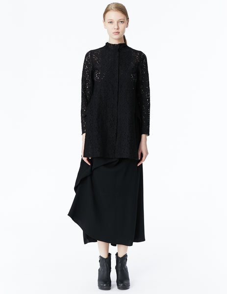 morgane le fay lace jacket with side vents and high neckline