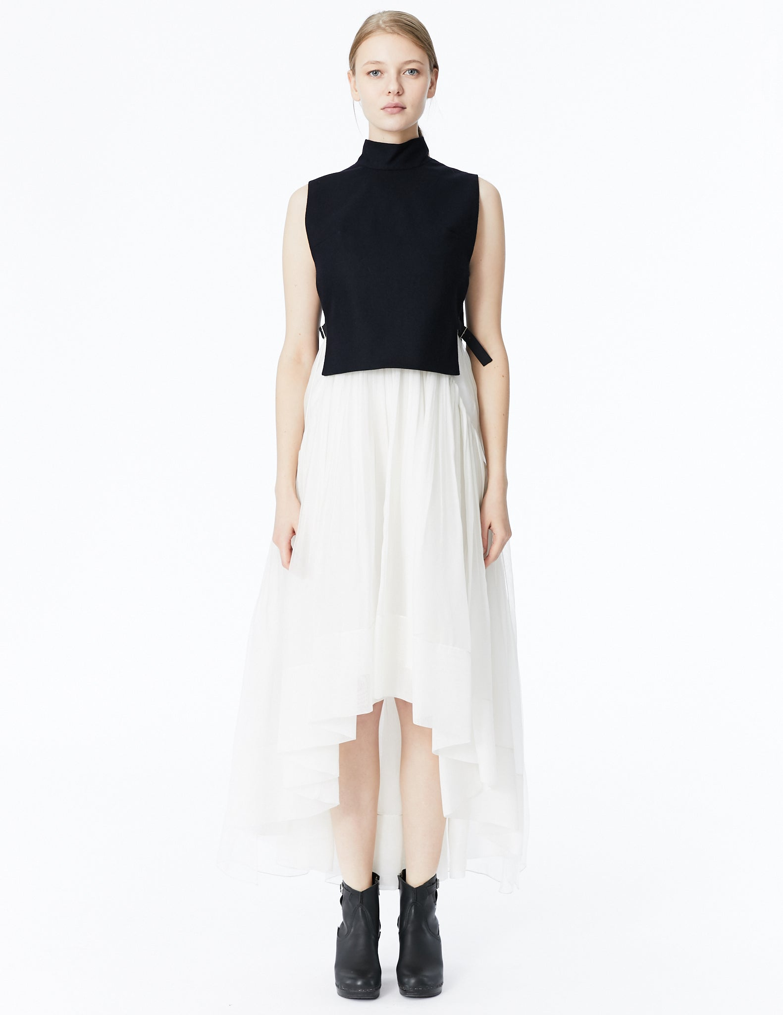 morgane le fay cropped vest with high collar and adjustable side buckles