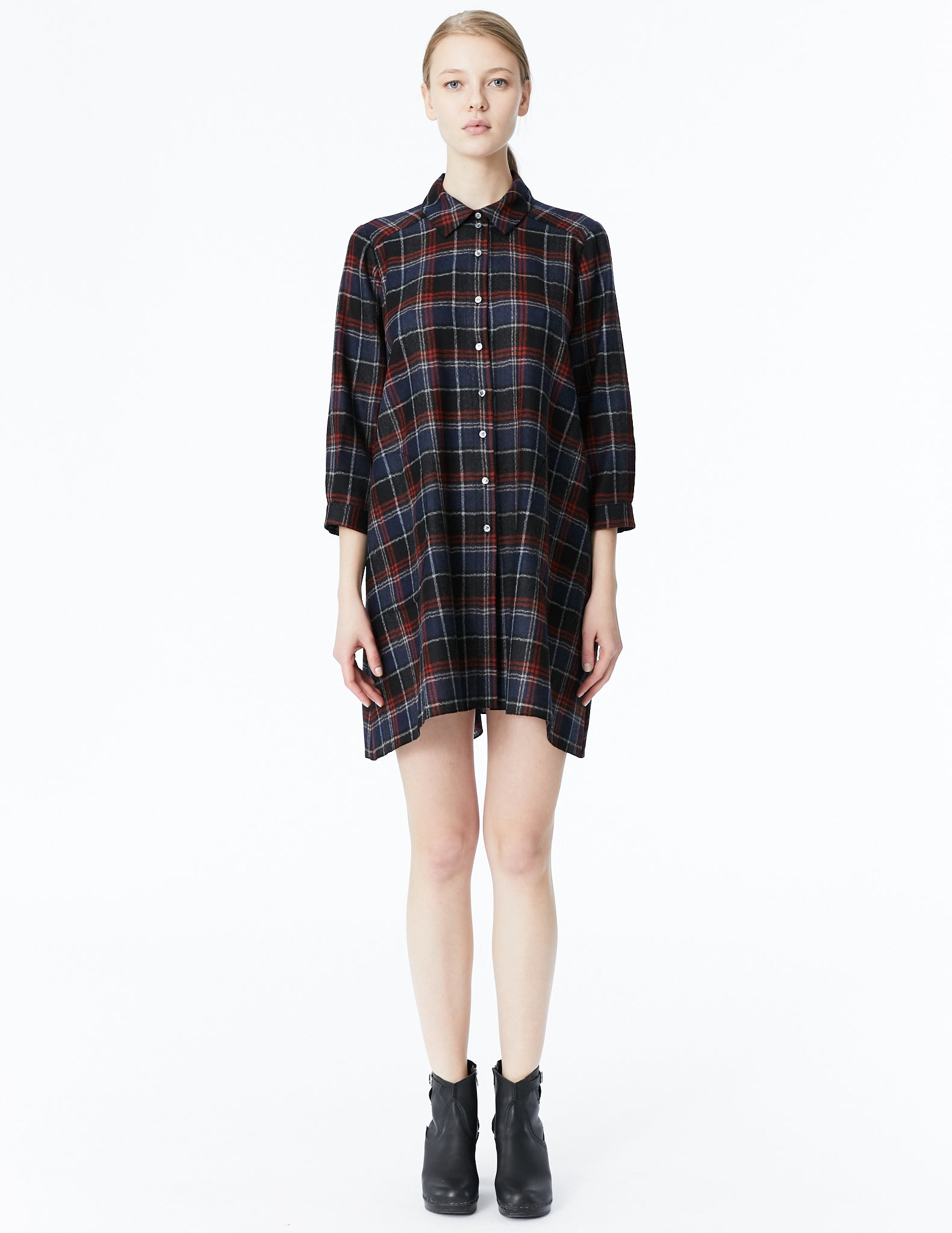 morgane le fay button down shirt dress with asymmetrically curved back panel