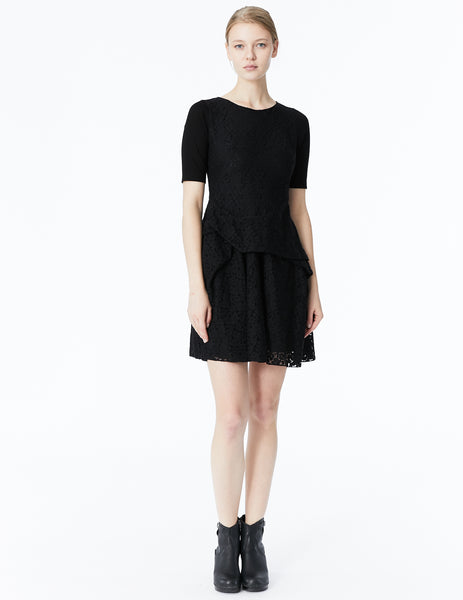 morgane le fay fitted lace dress with draped skirt and cotton jersey sleeves