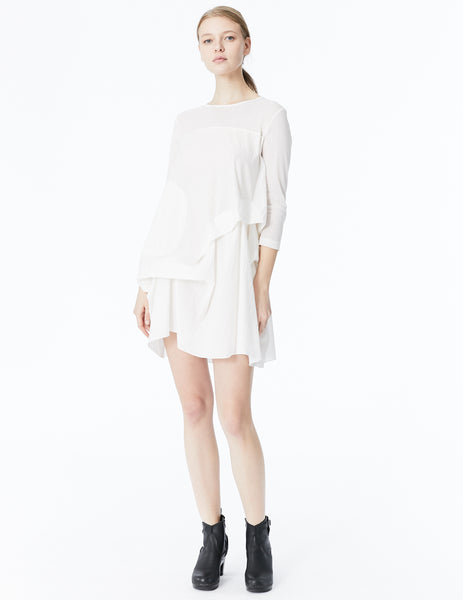 morgane le fay cotton batiste draped tunic with 3/4 sleeves