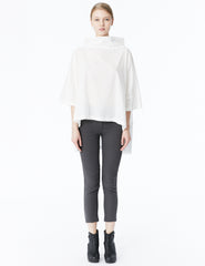 morgane le fay cotton batiste tunic with high low hem, oversized sleeves and high standing collar