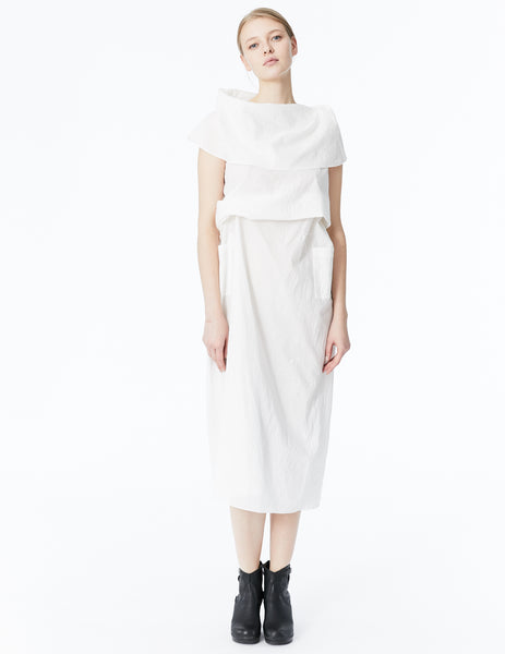 morgane le fay asymmetrically draped cotton batiste midi dress with oversized collar