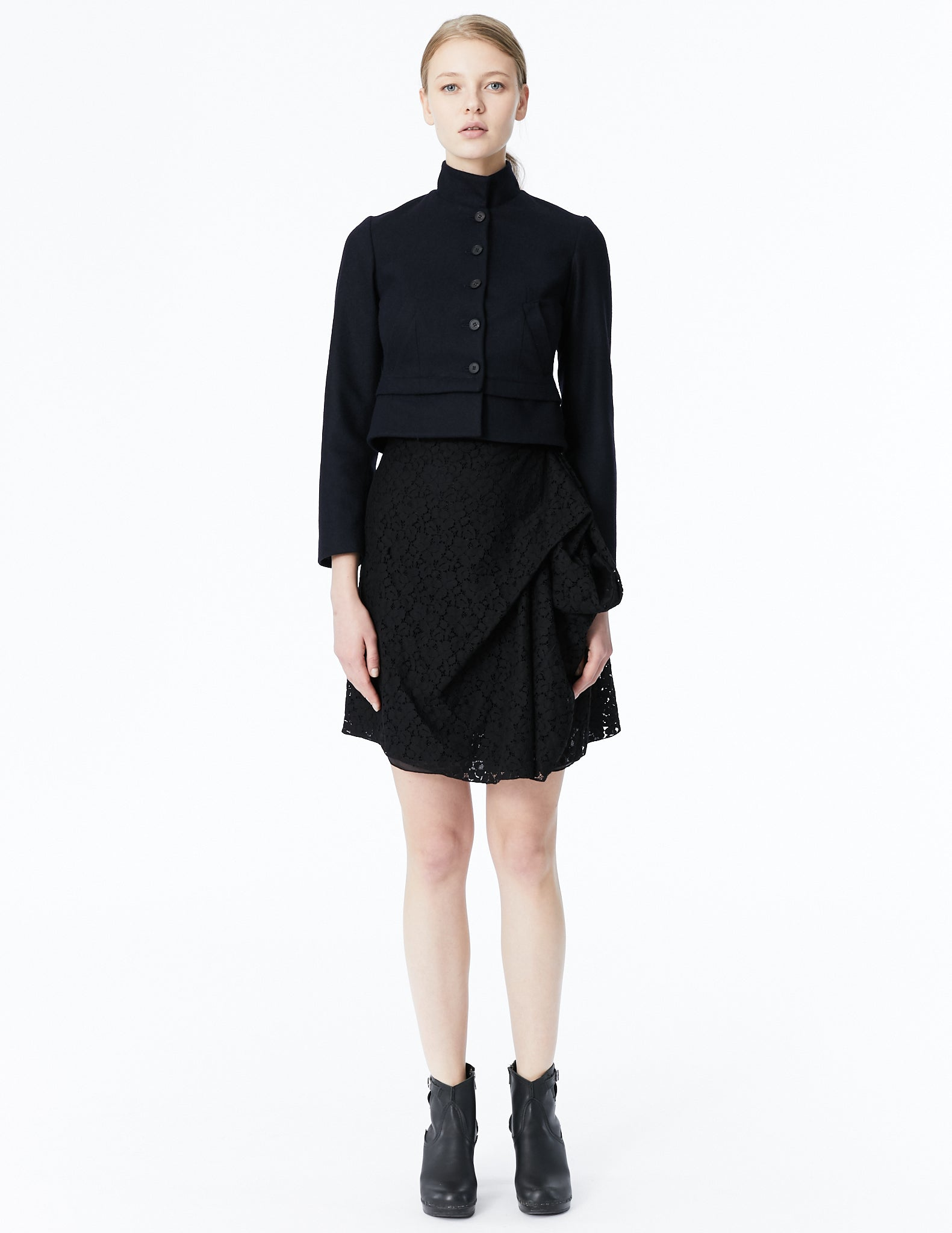 morgane le fay short fitted jacket with mandarin collar and mini peplum