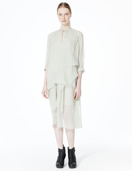 morgane le fay draped chiffon dress with long cuffed sleeves and keyhole neckline