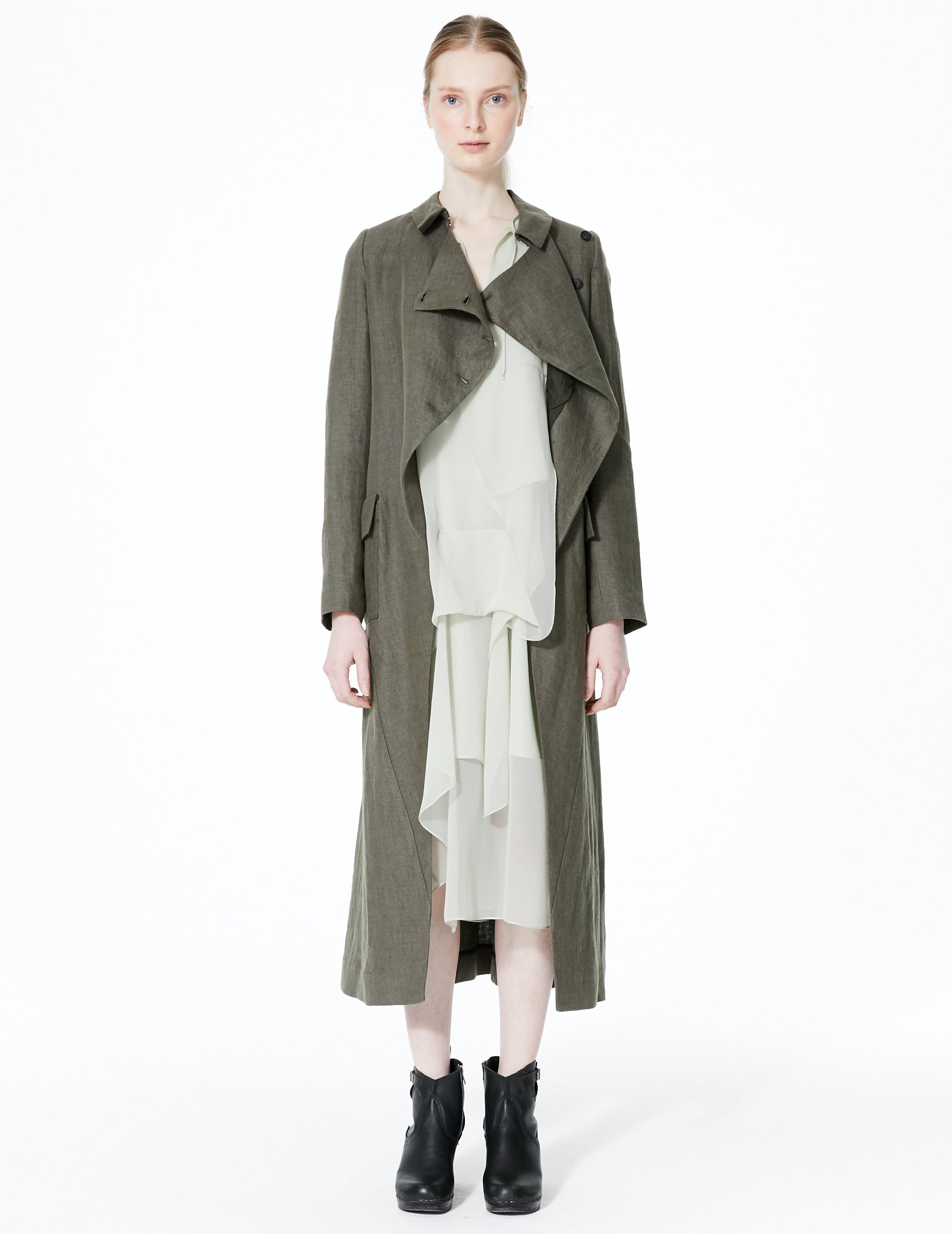 morgane le fay long heavy linen coat with diagonal drape closure