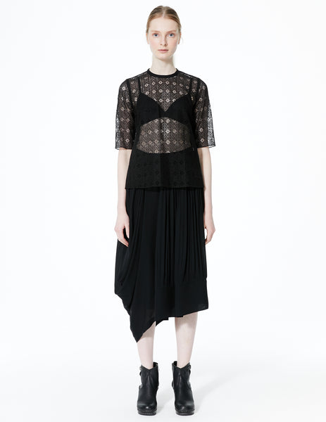 morgane le fay geometric lace top with high low hem and 3/4 sleeves