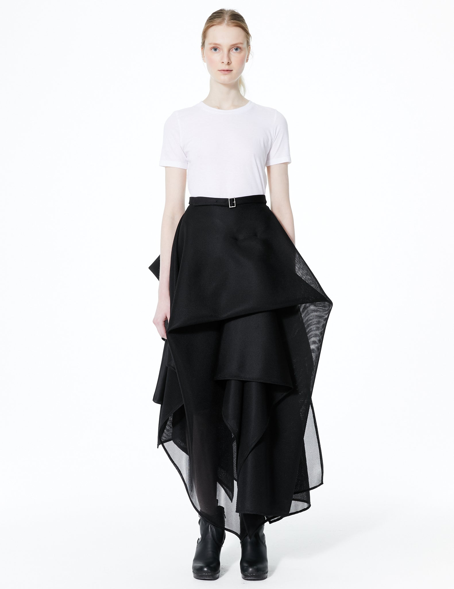 extravagantly draped mesh skirt with waistband and zipper