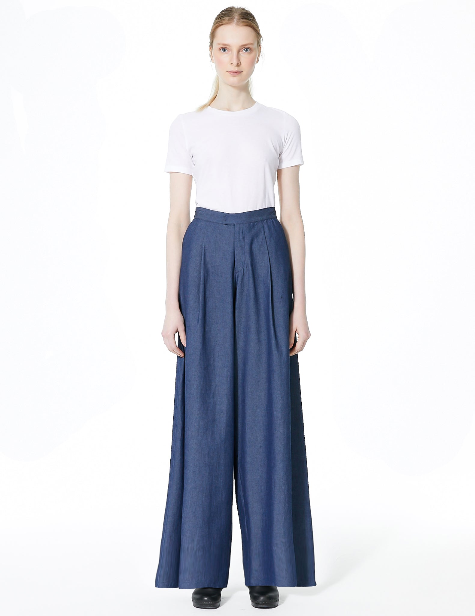 wide leg denim pant. made in new york city.