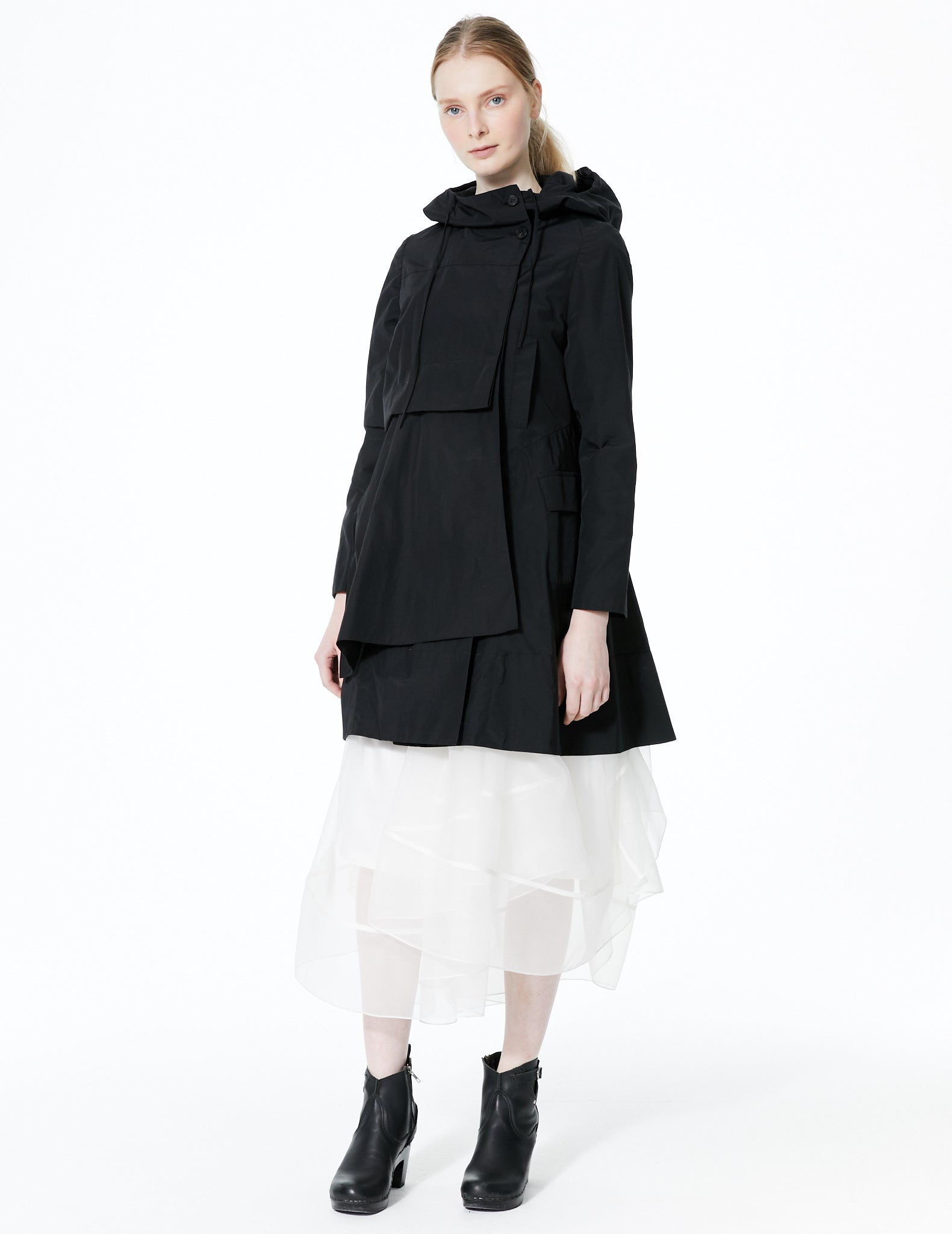 raincoat with offset button closure and front drape detail