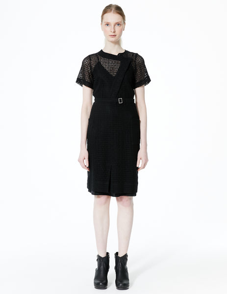 fitted dress with asymmetric closure, short sleeves, and buckled waist