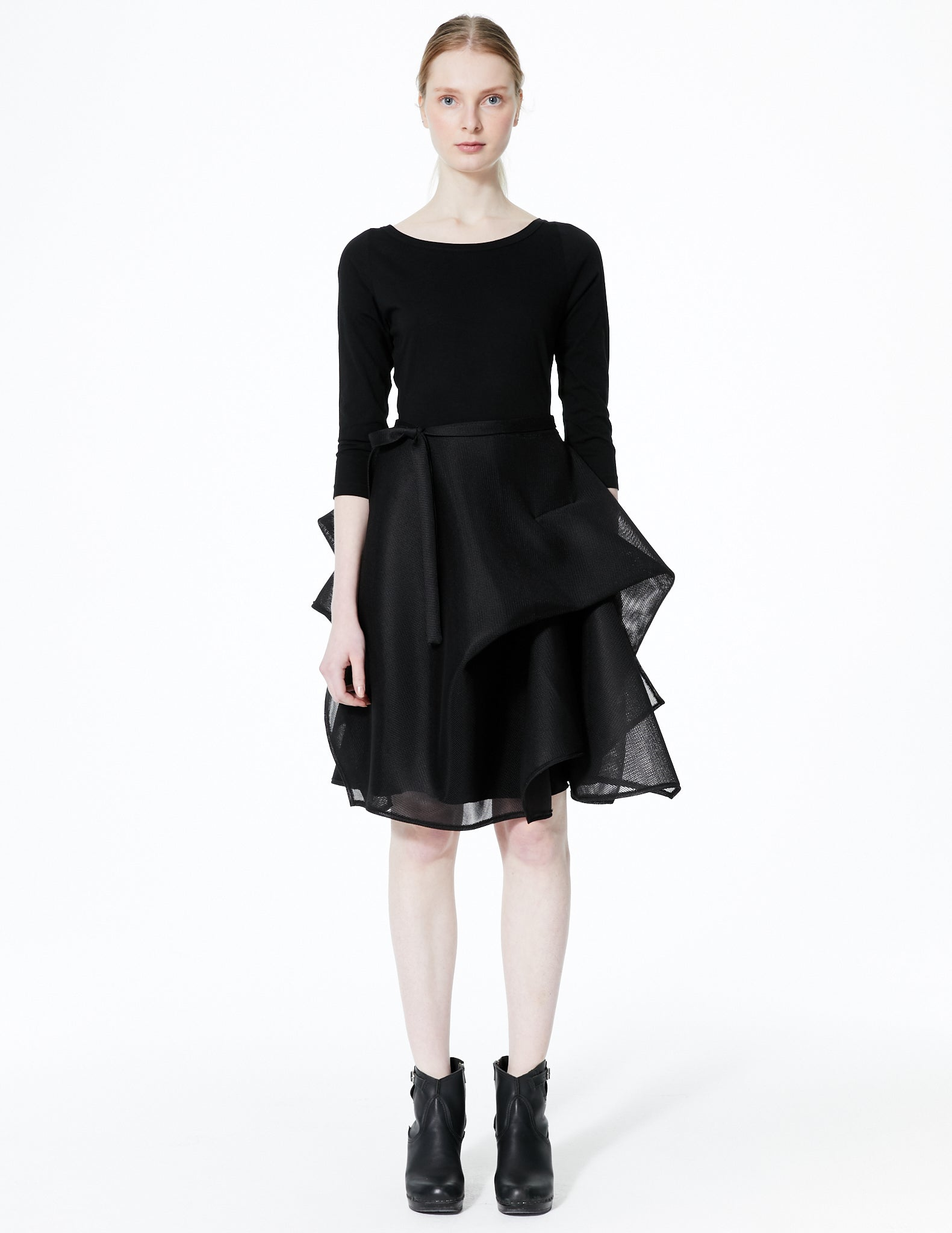 short dress with cotton jersey top and draped warp knit skirt