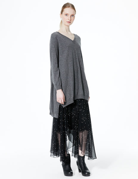 morgane le fay oversized cashmere v-neck sweater with longer back and ties to adjust length and draping. button detail at neck.