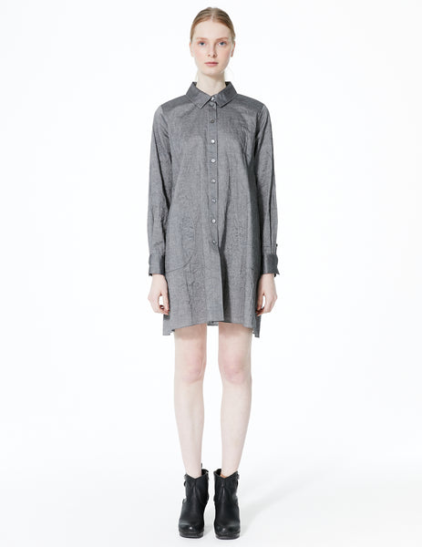 morgane le fay long sleeve button down shirt dress with asymmetrical curved back panel