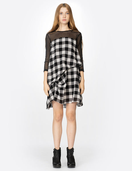 morgane le fay draped wool plaid tunic with cotton tulle yoke and sleeves. made in new york.