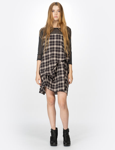 morgane le fay draped short dress with cotton tulle yoke and sleeves.