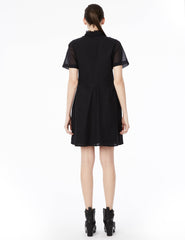 short dress with ruffled collar and center front ruched detail