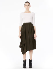 tea length double georgette skirt with twisting drapes