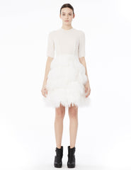 short double georgette dress with 3/4 sleeves and tiered feather skirt