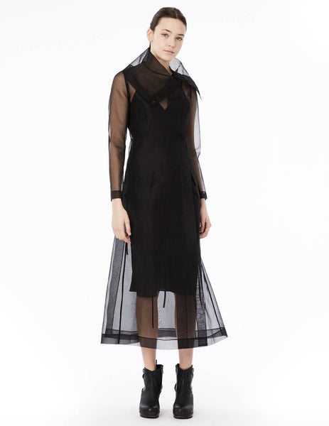 long organza coat with oversized collar