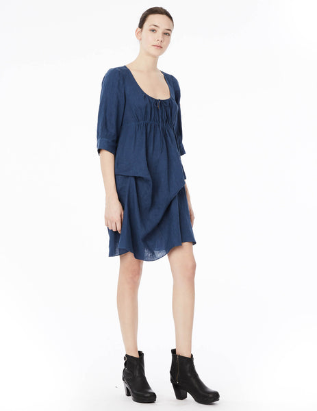 morgane le fay short draped dress with gathered neckline and waist