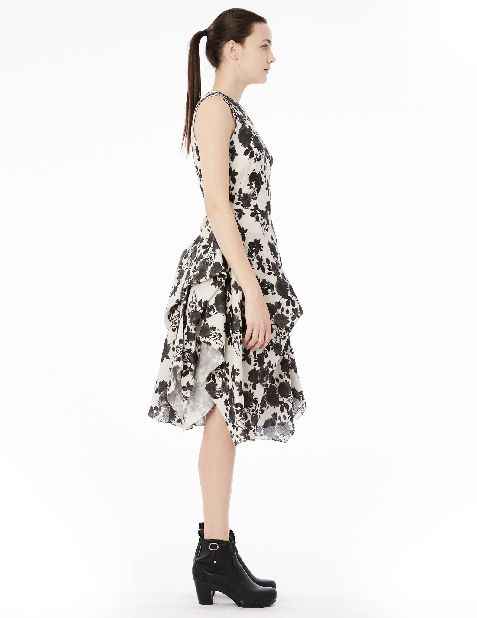 ca8ec53dafa short gown with sleeveless top and draped skirt