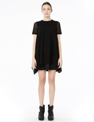 short dress with cotton jersey top and rectangular cotton tulle skirt