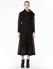 long jacket with oversized collar and ties to create drapery