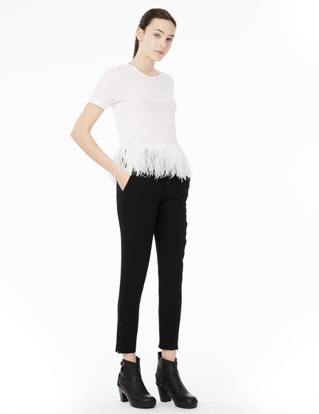 crew neck t-shirt with feather hem