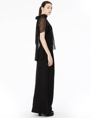 chiffon hyphen blouse with gathered tie neckline and short sleeves