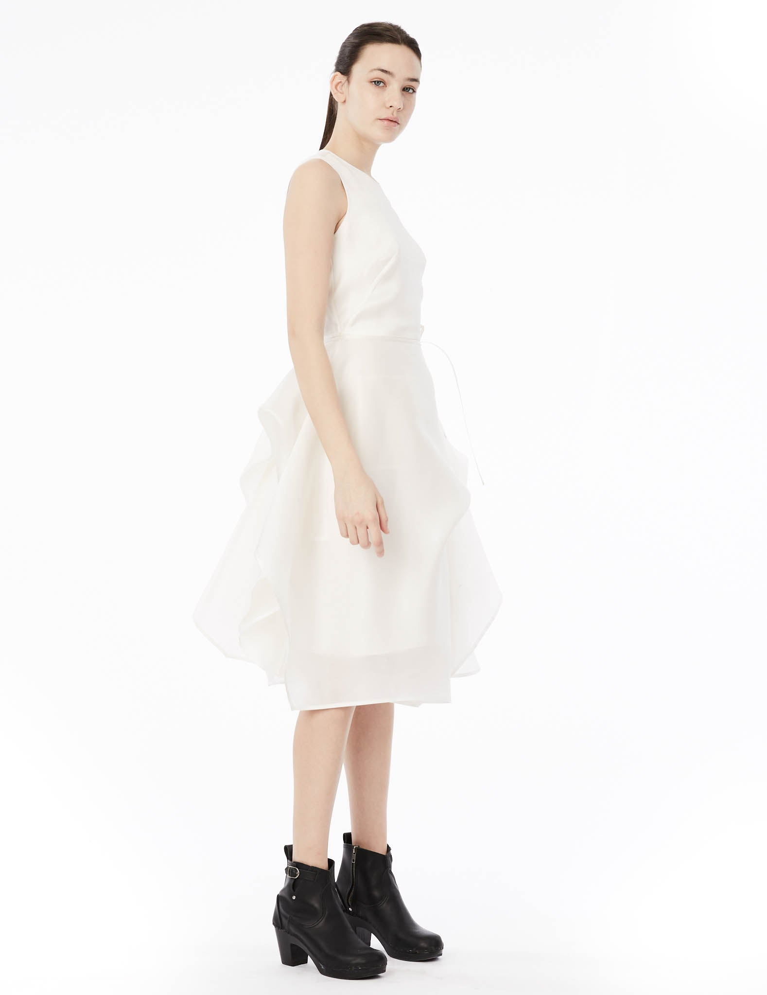 918d35f6e76 short satin organza gown with sleeveless top and draped skirt