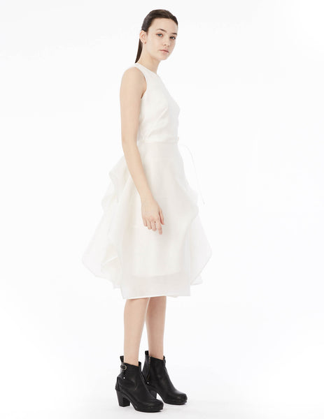 short satin organza gown with sleeveless top and draped skirt