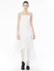 organza gown with straight open neckline, draped skirt, and back panel that can be tied around top